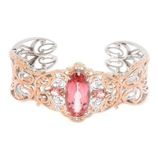 Michael Valitutti Palladium Silver Morganite Color Topaz Cuff Bracelet