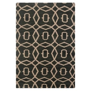 Link to Hand Knotted Wool Area Rug Geometric Green Beige Similar Items in Transitional Rugs
