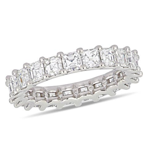 Miadora 18k White Gold 4ct TDW Asscher-Cut Diamond Full-Eternity Band