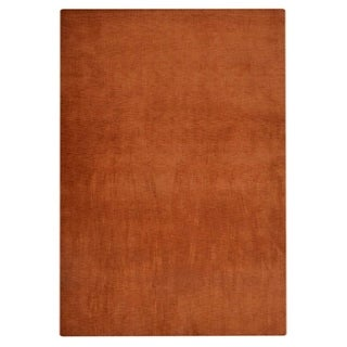 Hand Knotted Loom Wool Solid Area Rug Orange