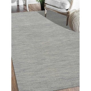 Hand Knotted Loom Wool Area Rug Solid Light Blue