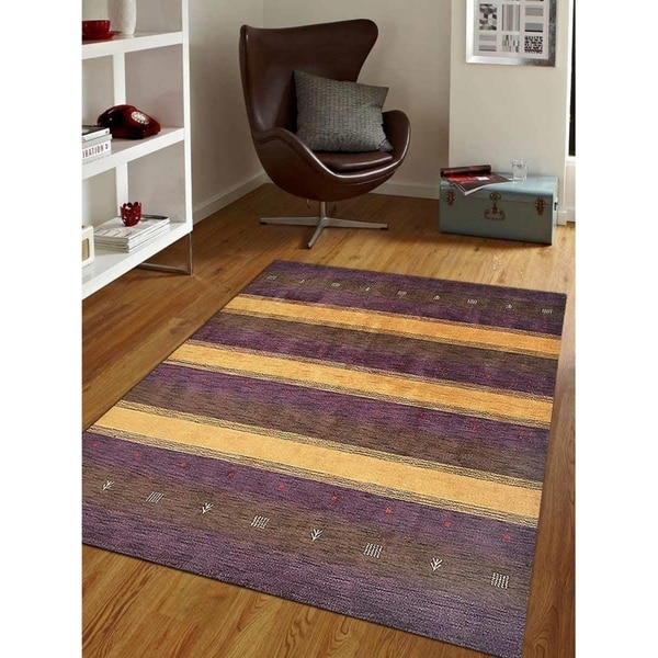 Shop Hand Knotted Loom Wool Area Rug Modern Purple Gold Free