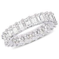 Miadora 18k White Gold 3-3/4ct TDW Emerald-Cut Diamond Full-Eternity Band