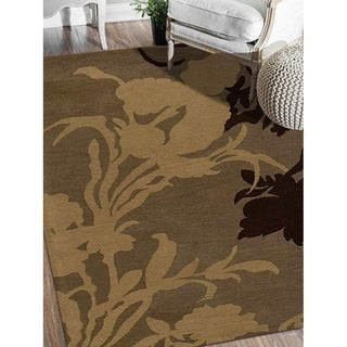Hand Tufted Wool Area Rug Floral Grey-White
