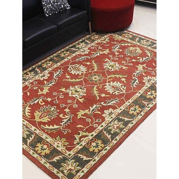 Shop Hand Tufted Wool Area Rug Oriental Red Green Free Shipping