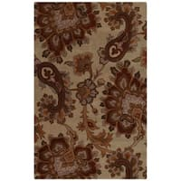 Hand Tufted Wool Area Rug Floral Beige