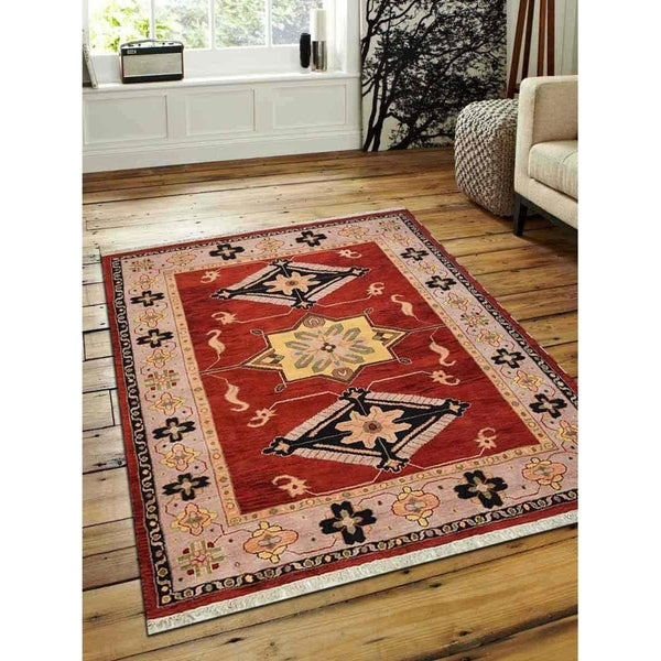 Shop Beige Wool Hand Knotted Oriental Persian Area Rug 6: Shop Hand Knotted Afghan Wool And Silk Oriental Area Rug