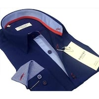 DMITRY Italian Cotton Men's Blue Textured Long Sleeve Dress Shirt