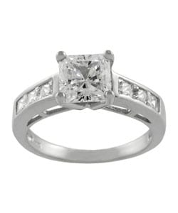 Journee Collection Sterling Silver CZ Bridal Princess Engagement Ring