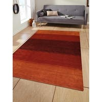 Hand Knotted Loom Wool Area Rug Contemporary Orange Red