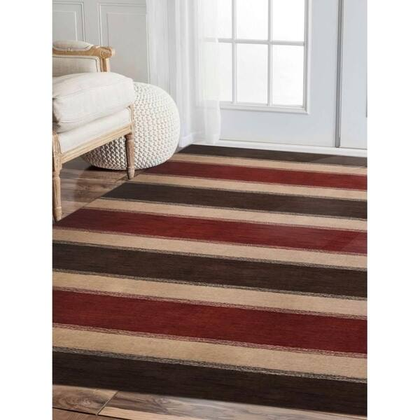 Hand Knotted Loom Wool Area Rug Contemporary Brown Beige Overstock 23432421