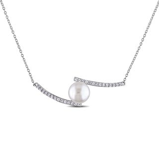 Miadora Sterling Silver Cultured Freshwater Pearl Created White Sapphire Necklace (10-11 mm)