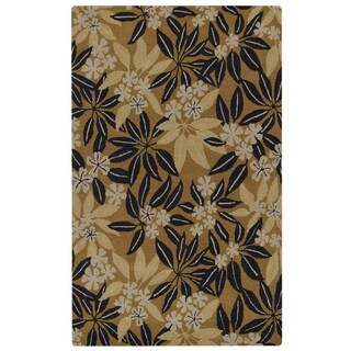 Hand Tufted Wool Area Rug Floral Gold