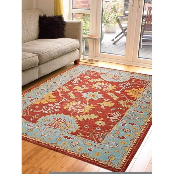 Tufted Indo Persian Wool Area Rug Ebth: Shop Hand Tufted Wool Area Rug Oriental Red Blue