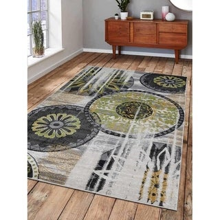 Machine Woven Polypropylene Area Rug Turkish Contemporary Beige Green