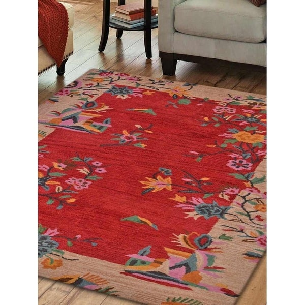 Tufted Indo Persian Wool Area Rug Ebth: Shop Hand Tufted Wool Area Rug Oriental Red Camel
