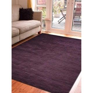 Hand Knotted Loom Wool Area Rug Solid Purple