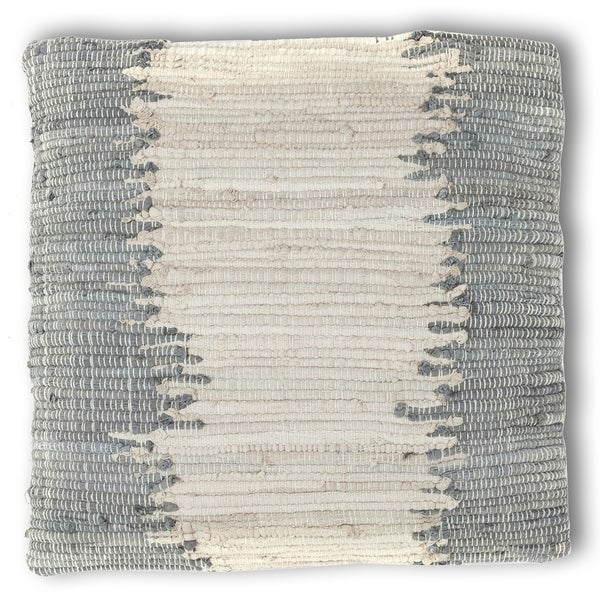 """Complex 18"""" Grey / Off-White Chindi Pillow"""