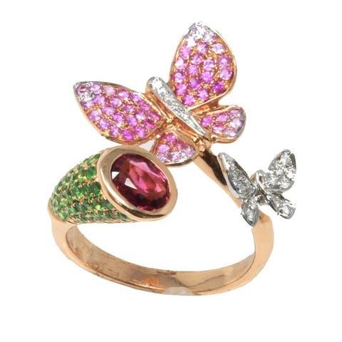 Rose Gold Diamond & Gemstone Butterfly Ring