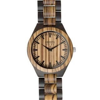 Dakota Genuine Ebony and Zebrawood Watch with Adjustable Link Band