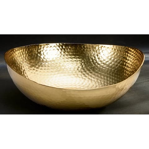 """12"""" Gilded Hammered Scalloped Bowl - 12x12x6"""""""