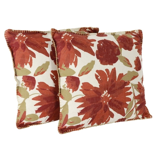 "Set of 2 Chandra Floral 20"" Foil Printed Franco Faux Linen Pillow"