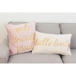 Hallie Hello Lovely Sequin Script Word 14x24 Velvet Decorative Throw Pillow