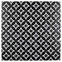 SomerTile 12.13x12.13-inch Laima Nero Deco Astro Porcelain Floor and Wall Tile (15 tiles/15.95 sqft.)