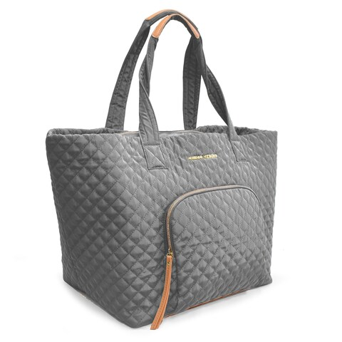 Adrienne Vittadini Large Quilted Nylon Tote-Grey