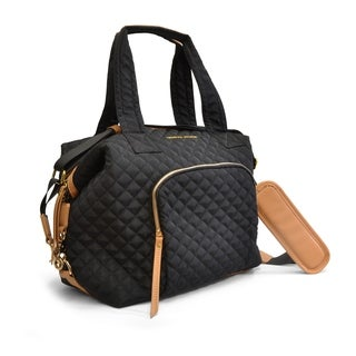 Adrienne Vittadini Quilted Collapsable Duffle-Black