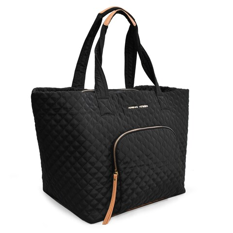 Adrienne Vittadini Large Quilted Nylon Tote-Black