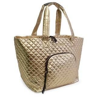 Adrienne Vittadini Metallic Quilted Nylon Tote-Gold