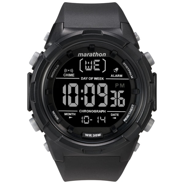 Marathon by Timex Men's TW5M22300 Digital 50mm Black/Negative Resin Strap Watch