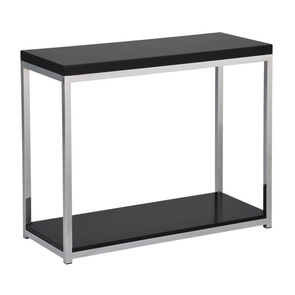 Wall Street Foyer Table in Chrome and Black Finish