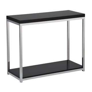 OSP Home Furnishings Wall Street Foyer Table in Chrome and Black Finish