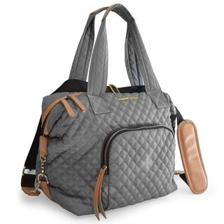 Adrienne Vittadini Medium Quilted Collapsable Duffle-Charcoal