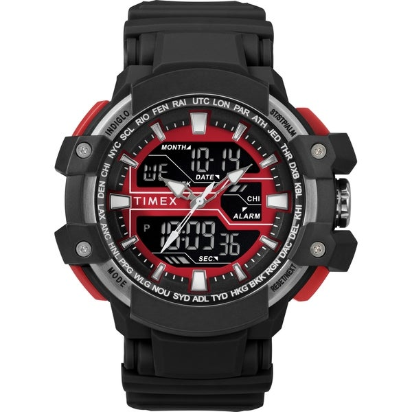 Timex Men's TW5M22700 Tactic DGTL Big Combo Black/Gray/Red Resin Strap Watch - N/A
