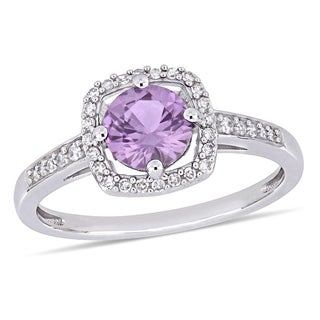 Miadora 10k White Gold Created Alexandrite and 1/7ct TDW Diamond Floating Square Halo Ring