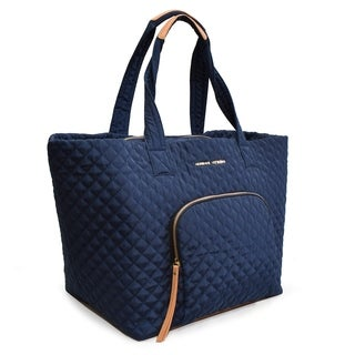Adrienne Vittadini Large Quilted Nylon Tote-Navy