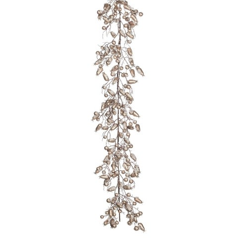 "Iced Rose Hip Garland - gold, silver - 6'l x 9""w x 4""h"