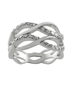 Journee Collection Sterling Silver Wavy Fashion Ring