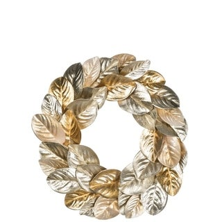 "Platinum Gold Magnolia Leaf Wreath - 22""l x 3""w x 22""h"