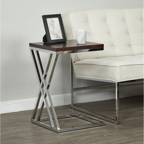 Wall Street Side Table in Chrome Finish