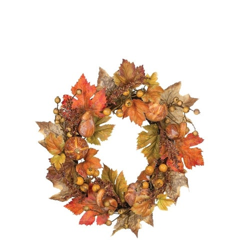 "Autumn Pumpkin & Berry Wreath - 20""l x 6""w x 20""h"