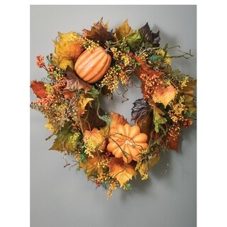 "Autumn Grape & Leaf Wreath - 30""l x 7""w x 30""h"