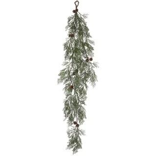 """Cedar Pine Garland - Green, Brown - 50""""l x 14""""w x 5""""h"""