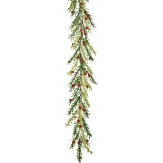 "Felt Pine & Berry Garland - green, red - 6'l x 11""w x 8.5""h"