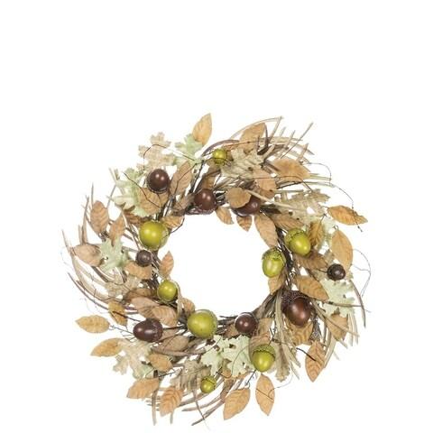 "Autumn Acorn & Foliage Wreath - 24""l x 6""w x 24""h"