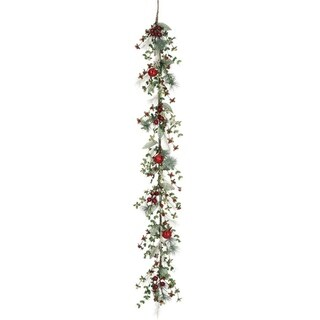 "Pine, Berry, & Bell Garland - green, red, brown - 9""l x 6""w x 60""h"