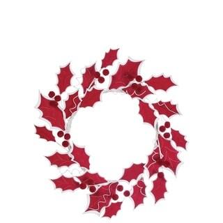 """Felt Holly Leaf Wreath - 24""""l x 3.5""""w x 24""""h"""
